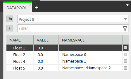 Datapool component with namespace column