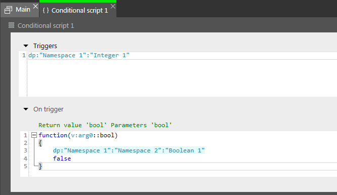Conditional script with trigger, using a datapool item of a subnamespace
