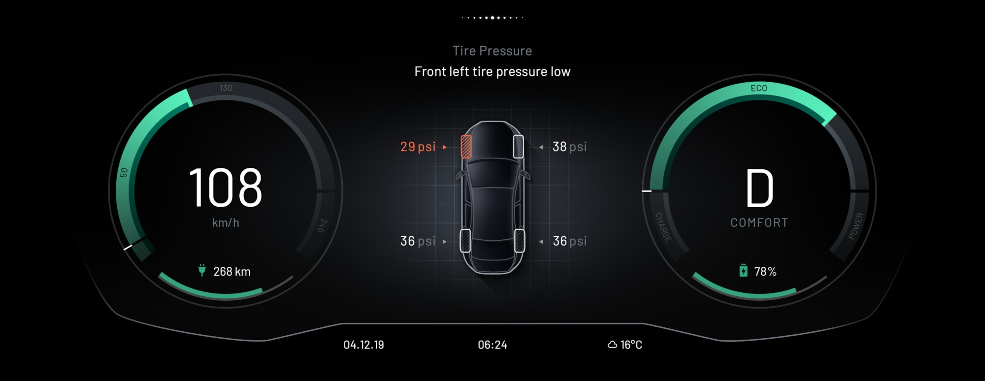 EB GUIDE Car HMI Tire Pressure
